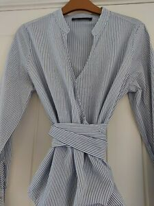 M & S Navy Wrap Style Shirt 8