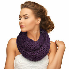 Knit Infinity Scarf Circle Loop Cable Cowl Neck Long Shawl Winter Warmer Womens