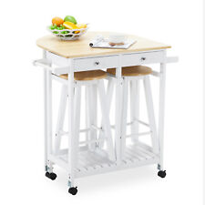 3Pcs Wood Kitchen Rolling Island Cart Fold Table Drop Leaf w/2 Drawer & 2 Stool