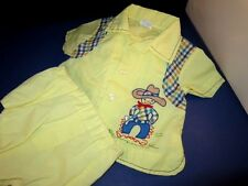 Vintage baby boy 2 pc. outfit yellow diaper cover rubber pant and diaper shirt