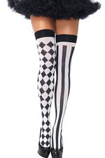 Ladies Sexy Black White Harlequin Clown Circus Fancy Dress Stockings Hold Ups