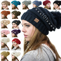 BRAND NEW CC Beanie Trendy Oversized Hat Thick Solid Cable Knit with Pom Pom