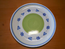 """Caleca Italy Set of 2 Dinner Plates 11"""" Green Ctr Blue Band Blue Garland Flowers"""