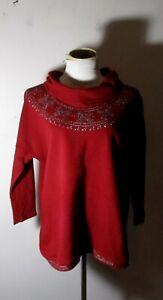 Women's LUCKY BRAND Burgundy Cowl Neck Sweatshirt Size L