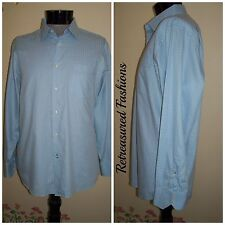 Men's BEN SHERMAN Light Blue with Patterning Button Front Shirt sz 17 XL 34-35