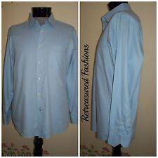 Men's BEN SHERMAN Light Blue with Patterning Button Front Shirt sz 17 XL 34-35