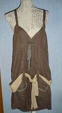 Tunique / mini robe dos nu marron imitation lin ceinture foulard taille M
