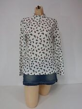 Women Mock Neck Shirt Rebecca Malone Long Sleeve Small White Pinecone Top