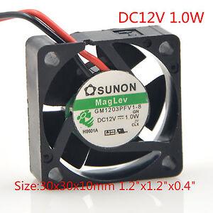 "SUNON Cooling Fan GM1203PFV1-8 3010 3cm 12V 1.0W 2P 30x30mmx10mm 1.2""x1.2""x0.4"""