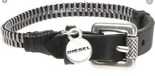 New Diesel A-zipper Genuine Leather Black And Silver Bracelet Wristband Mens
