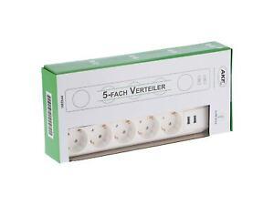 5 fach Steckdosenleiste 2x USB 5er Steckerleiste Mehrfachsteckdose