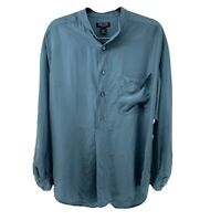Structure Womens M 100% Silk Blue Popover Blouse Long Sleeve Relaxed Fit Top