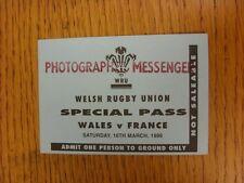 16/03/1996 Ticket Rugby Union-Pays de Galles/France (carte spéciale). Cet objet a être
