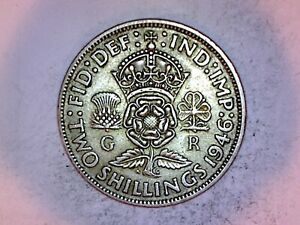 1946 SILVER FLORIN COIN OF KING GEORGE VI. TWO SHILLINGS. 2/-..(C120)