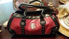 Fl state logo leather handbag. garnet/ black handles/trim. Signed Yima