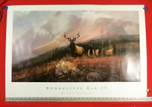 "Art Print "" Bookclifffs Elk II "" by Michael  Coleman. 35' wide X 24"" tall ExCond"
