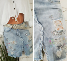 NEU SUPER AUSGEFALLENER DESTROYED JEANS ROCK PAILETTEN GLASPERLE 🌺 M 38 40