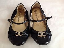 Juicy Couture New Black Leather Patent Pumps Shoes Girls Size UK 12 EU 31 US 13