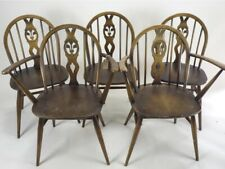 Set Of Five Vintage Ercol Fleur De Lys Dining Chairs Stick Back with 2 x Carvers