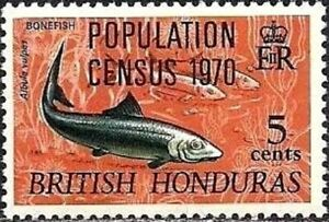 BRITISH HONDURAS -1970- Bonefish (Albula vulpes) - Overprinted - MNH - Sc. #251