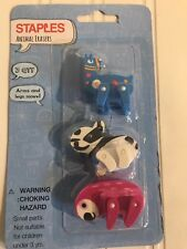 Staples 3pc Animal Erasers w/ Moveable Arms & Legs NEW school supplies