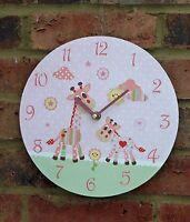 Wall Clock Pink Giraffe and Friends Girl Baby Nursery Shabby Chic  26cm Cute New