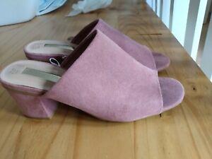 Primark Dusky Pink Suede Open Toe Mules Sandals Shoes Size 3UK 36EU block heel