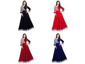 Ethnic Designer For Women Ready Made Crepe Printed Casual Wear Gown KZPU1-2