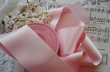 "1y VINTAGE 2 1/2"" SATIN BABY PINK MILLINERY RIBBON TRIM FLOWER FRENCH COTTAGE"