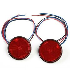 2 Pcs 24 LED Motorcycle Round Reflector Tail Lamp Bulbs Brake Turn Signal Light
