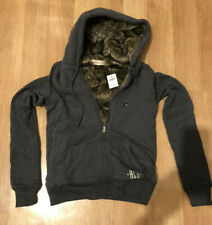 Hollister Women Sherpa Hoodie XS X Small Dark Grey New with Tag