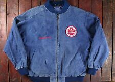VTG 80s ADIDAS ORIGINAL AMERICAN TOUR BLUE SUEDE LEATHER BOMBER JACKET RETRO XL