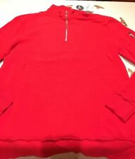 Topman Classic Fit Block Colour Red Jersey Top With Zip Size Large