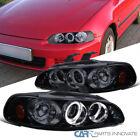 For 92-95 Honda Civic 234dr Glossy Black Smoke Led Halo Projector Headlights