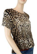 Ella Jonte Leopardo Camiseta 42 44 Braun Negro Viscosa Elastán Made IN Italy