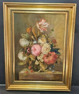 19th century  dutch school oil on canvas floral study signed realism