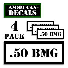 """.50 BMG Ammo Can 4x Labels Ammunition Case 3""""x1.15"""" stickers decals 4 pack WT"""