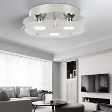 Chrome Glass Modern 3 Way Round Living Room Entrance Aisle Ceiling Light Fitting