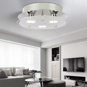 Chrome Glass Modern 3 Way Round Living Room Entrance Aisle Ceiling Light Fitting