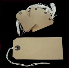 """50 Strung Tags 70mm x 35mm Luggage Labels String Buff Brown 2.75"""" x 1.5"""""""