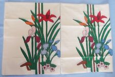 Pair of 2 Matching Standard Cream Pillowcases With Decorative Flowers and Leaves