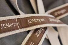 """NEW J.P. Morgan JP Chase JPMC 17"""" Original Duffel Banker Bag -Gray*Brown Ribbons"""