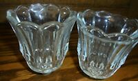 Set (2) Vtg Home Interiors Clear Glass Starlight Peg Votive Cup/Candleholder 103