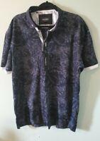 NWT Maceoo Men's 2XL Mozart Palm Blue Print Short Sleeve Polo Shirt