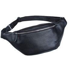 New Arrival Men's Leather Black Fanny Waist Bags Backpack Chest Sling Bag Gift