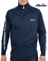 Ellesse Men's Track Top Jacket Navy Blue Liscia
