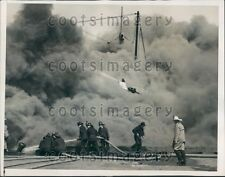 1938 San Francisco Firemen Fight Pier Blaze SS Massmar Press Photo