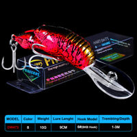 1PC Crankbait Fishing lure 9cm-10g Floating Plastic Bass Bait Treble Hook Tackle