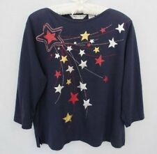 Drapers & Damons navy blue patriotic cotton blend 3/4 sleeve knit top *Sz PL*