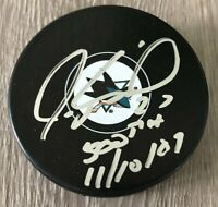 JEREMY ROENICK SIGNED SAN JOSE SHARKS PUCK 500th GOAL INSCRIPTION w/EXACT PROOF